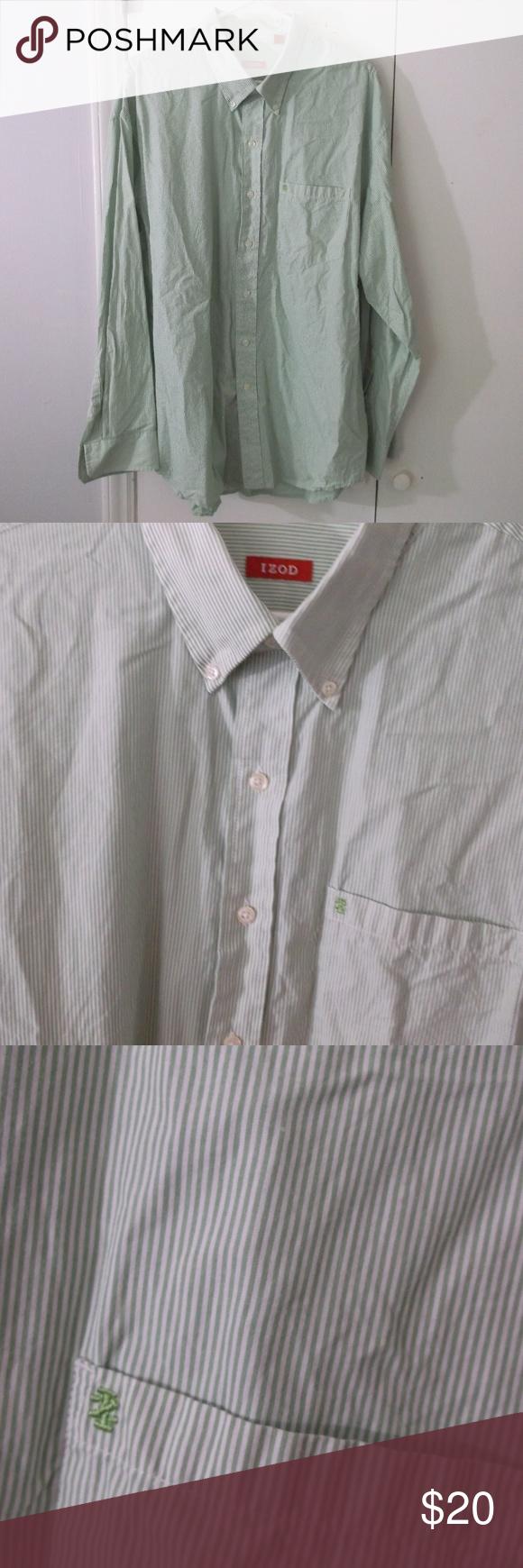 Green dress shirt mens IZOD Green Pinstripe Dress Shirt XXL Long Sleeve  My Posh Closet