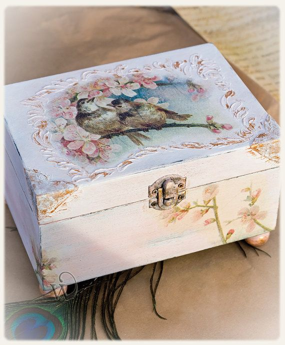 Decoupage Box Wooden Box Shabby Chic Gift by