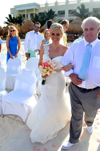 Father Of The Bride Beach Wedding Attire With Blue Tie Father Of