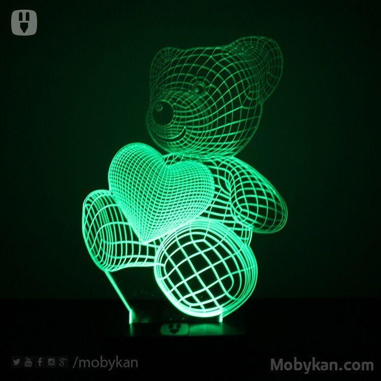 دبدوب وقلب من الليد اكريليك Baby Night Light Night Light Kids Lamp