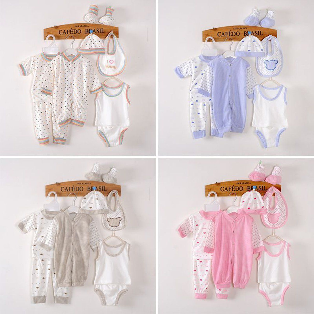 6197fdef2339 8PCS Cotton Newborn Baby Clothes Clothing Set Includes Jumpsuit Hats Socks  Bib Tops Pants Multi Color Dots Style Layette for 03M Infant White    Be  sure to ...
