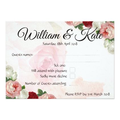 Roses custom double sided wedding rsvp card wedding invitations roses custom double sided wedding rsvp card wedding invitations cards custom invitation card design marriage stopboris Gallery
