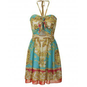 SCARF DRESS IDEAS | Lipsy scarf print babydoll dress. The lipsy halterneck dress features ...