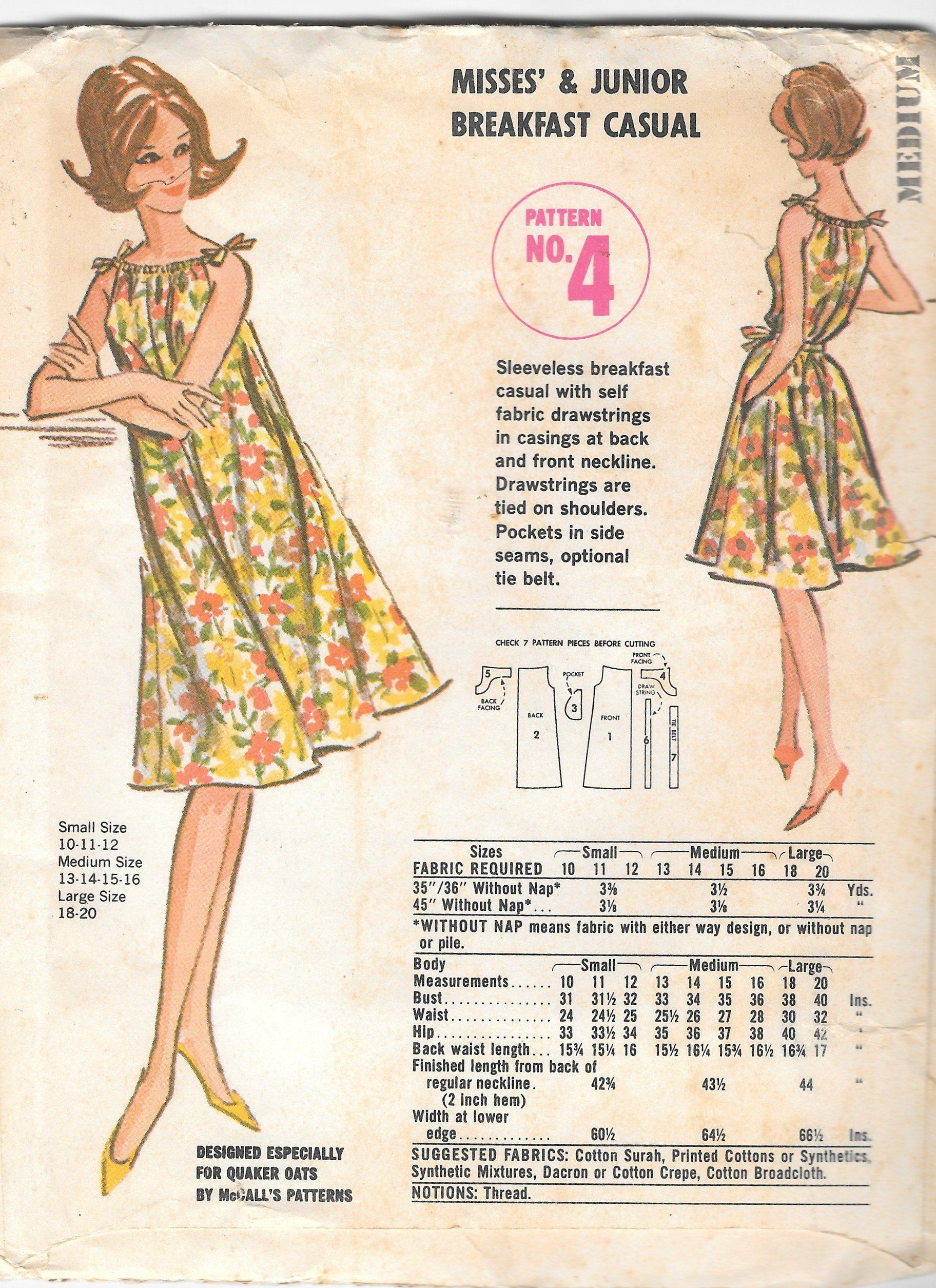 Vtg Mccalls Pattern 4 Misses Mumu Type Dress Breakfast Casual