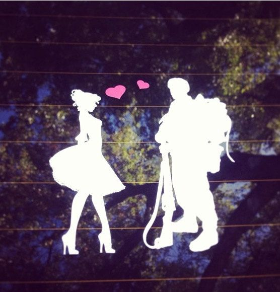 Military couple car decal by contrivedwithlove on etsy 15 00
