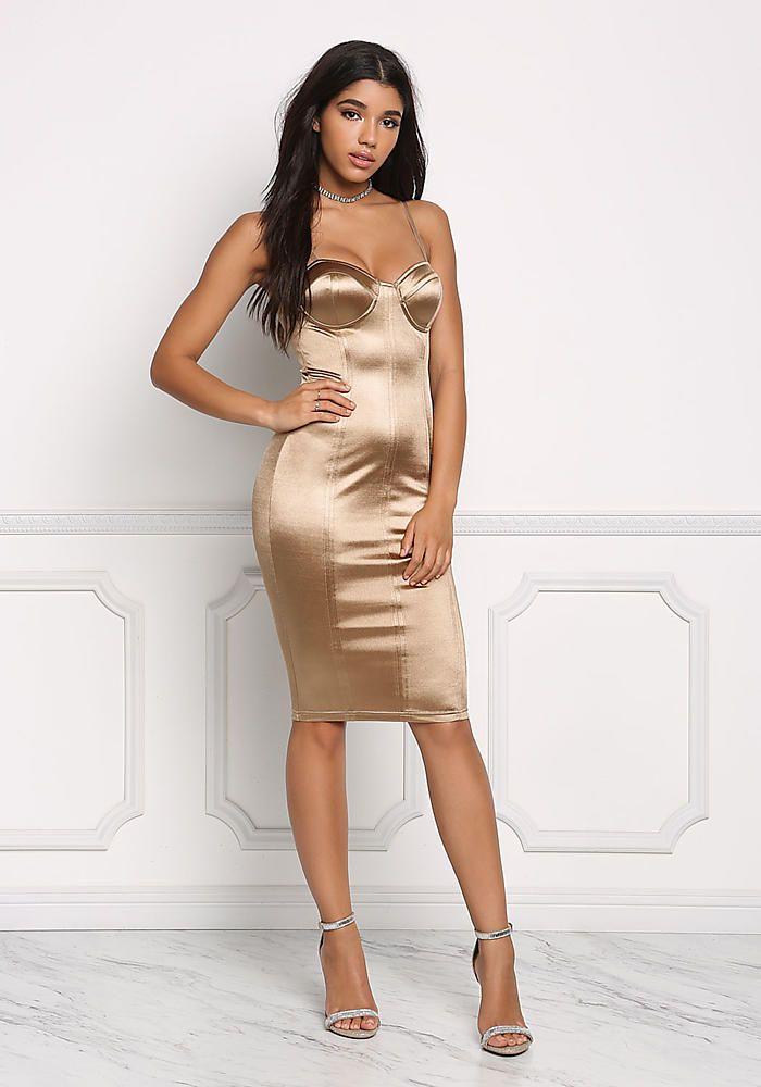 Dark Gold Satin Bustier Bodycon Dress  c6998a8c110a