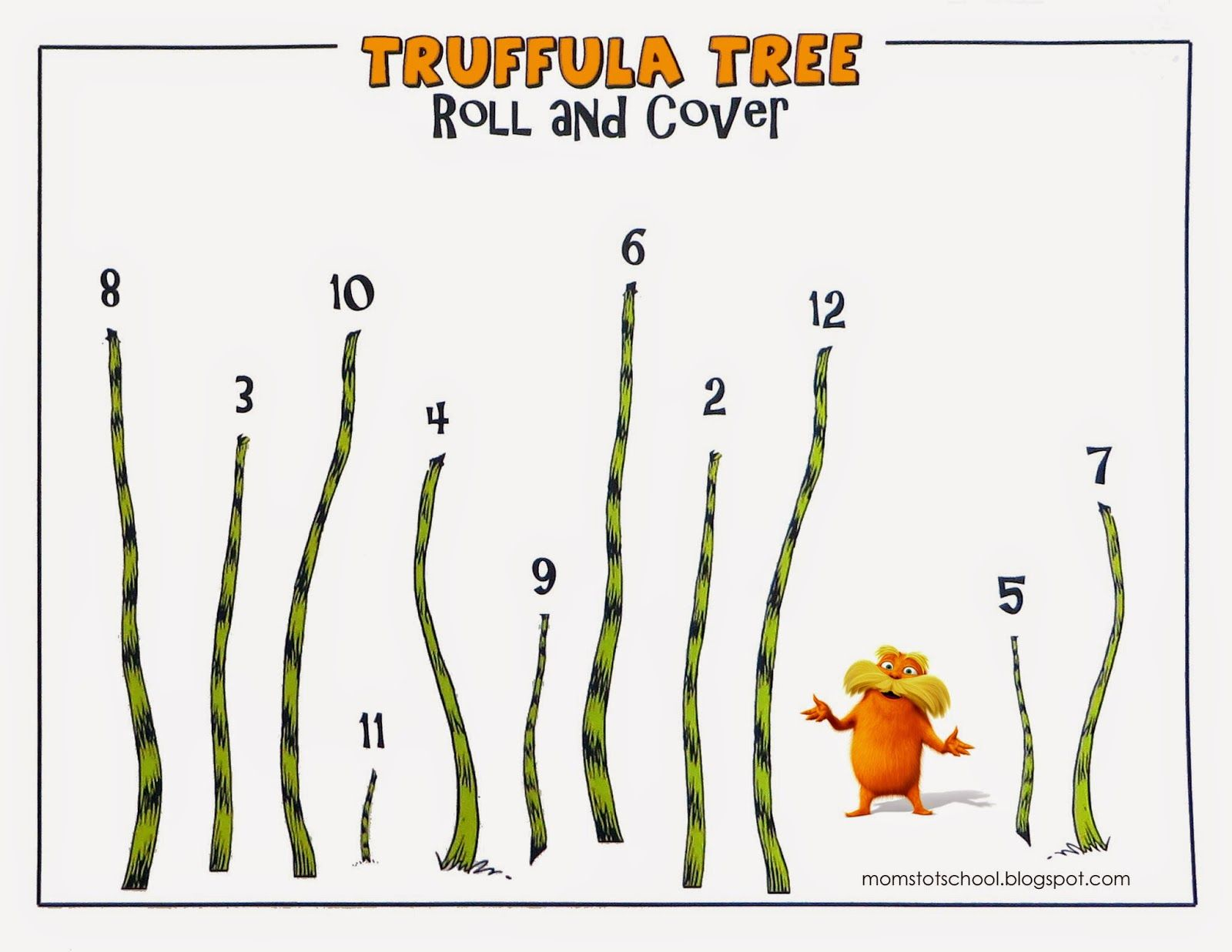 Dr. Seuss - The Lorax - Truffula Tree Roll and Cover Game - free ...