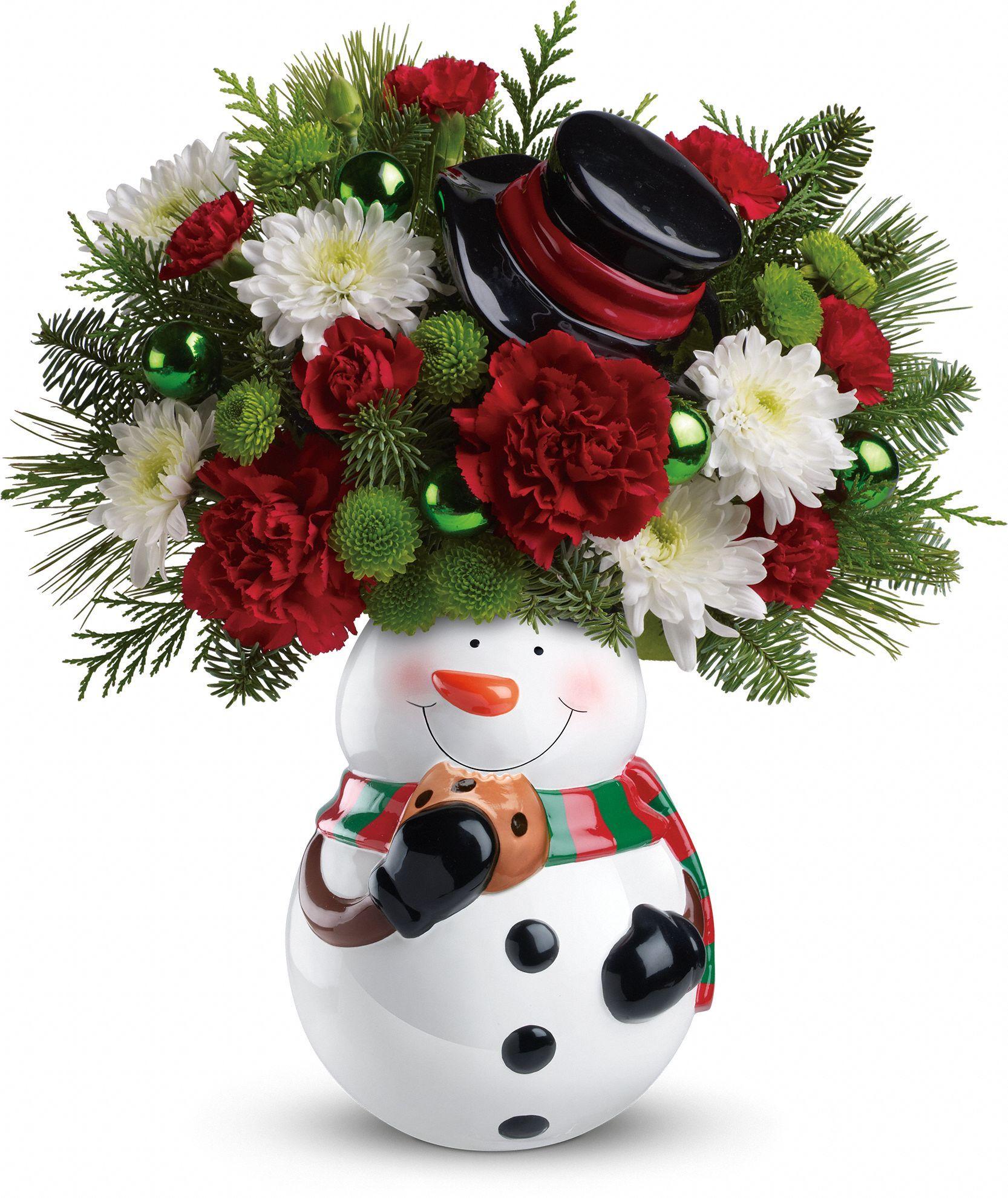 Teleflora's Snowman Cookie Jar Bouquet Christmas flowers