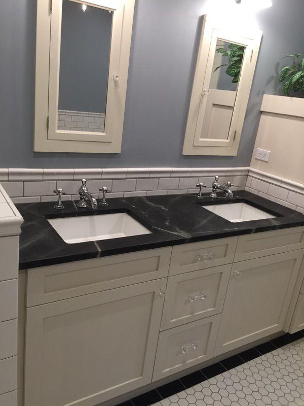 Bath Done In Soapstone Countertops Primitive Bathroom Decor