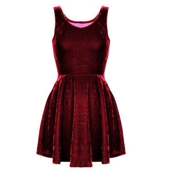 Red Velvet Fit + Flare Sleeveless Skater Mini Dress ($29) ❤ liked on Polyvore featuring dresses, dark red, skater dress, short flare dress, mini skater dress, red skater dress and velvet skater dress