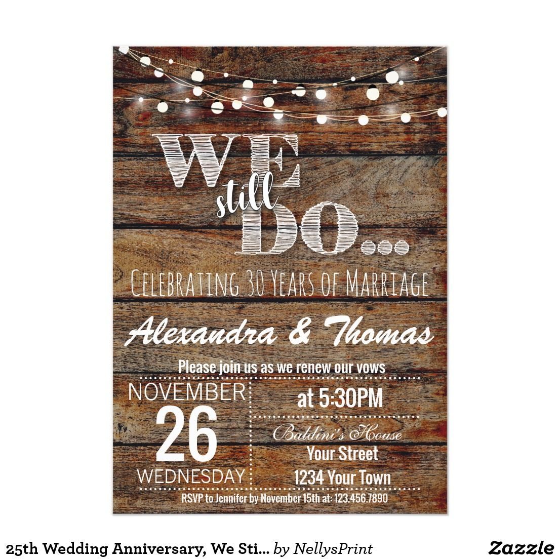 25th Wedding Anniversary We Still Do Anniversary Invitation In 2018