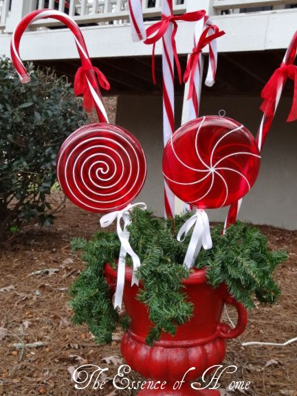 Candy Cane Outdoor Christmas Decorations The Essence Of Home Outside Christmas Decorations  Christmas