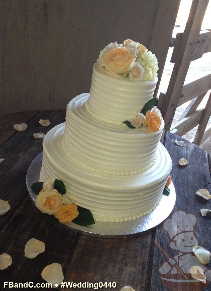 "Design W 0440 Butter Cream Wedding Cake 14""+10""+6"