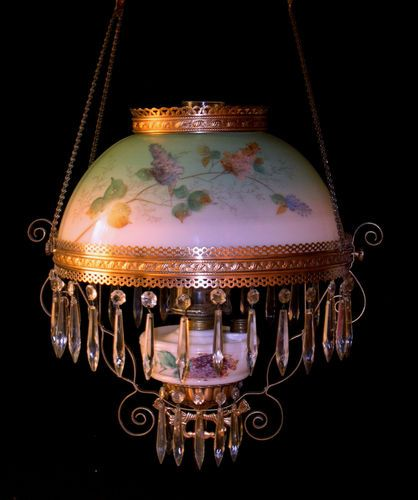 Antique hanging oil lamp w 3 tier crystal prisms