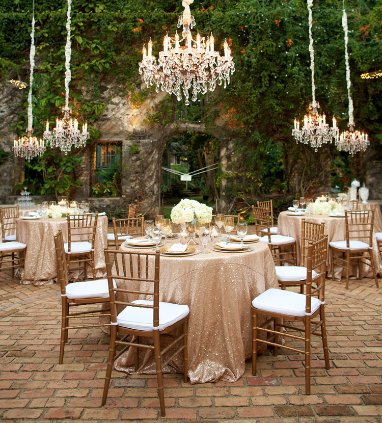 These blush sequin tableclothes and low hanging chandeliers are blush sequin tableclothes and low hanging chandeliers are perfect accents to this stunning garden wedding mozeypictures Image collections