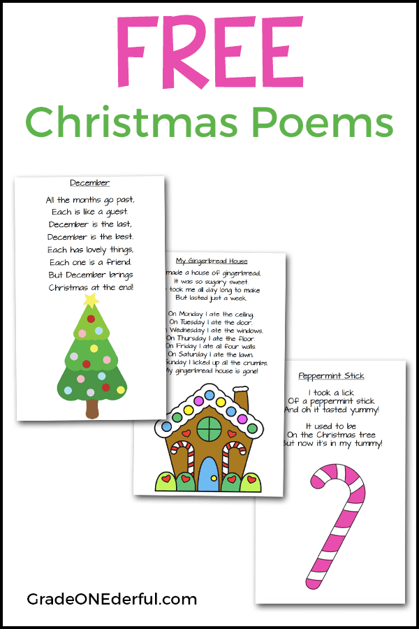 Three Christmas poems (Peppermint Stick, December, My Gingerbread House)  for primary students. These printables are free.#christmaspoems  #poemsforkids # ... - Christmas Poems For Young Children! Teaching Ideas Pinterest