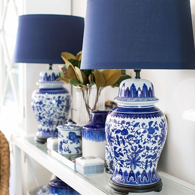 We Are Absolutely Loving Our Lotus Lamps With Their Navy Shades You Can Shop Them In Our Online Store Or They Blue And White Lamp Navy Lamp Shade Lamp Decor