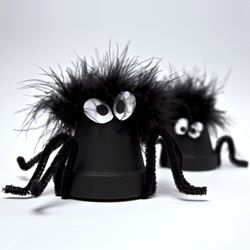 "Black Flower Pot Spiders by Kay Brown using they Xyron 2.5"" create-a-sticker"
