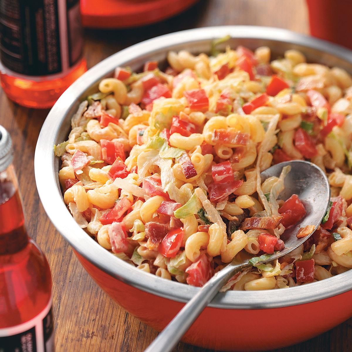 BLT Macaroni Salad Recipe -A friend served this salad, and I just had to get the recipe. My husband loves BLT sandwiches, so this has become a favorite of his. It's nice to serve on hot and humid days, which we frequently get during summer here in Virginia. —Mrs. Hamilton Myers Jr., Charlottesville, Virginia