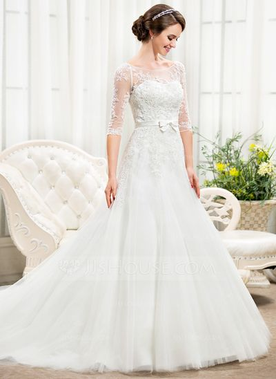 496acbd9f Corte A Princesa Hombros caídos Cola capilla Satén Tul Encaje Vestido de  novia con Bordado Lentejuelas Lazo(s) (002056466)