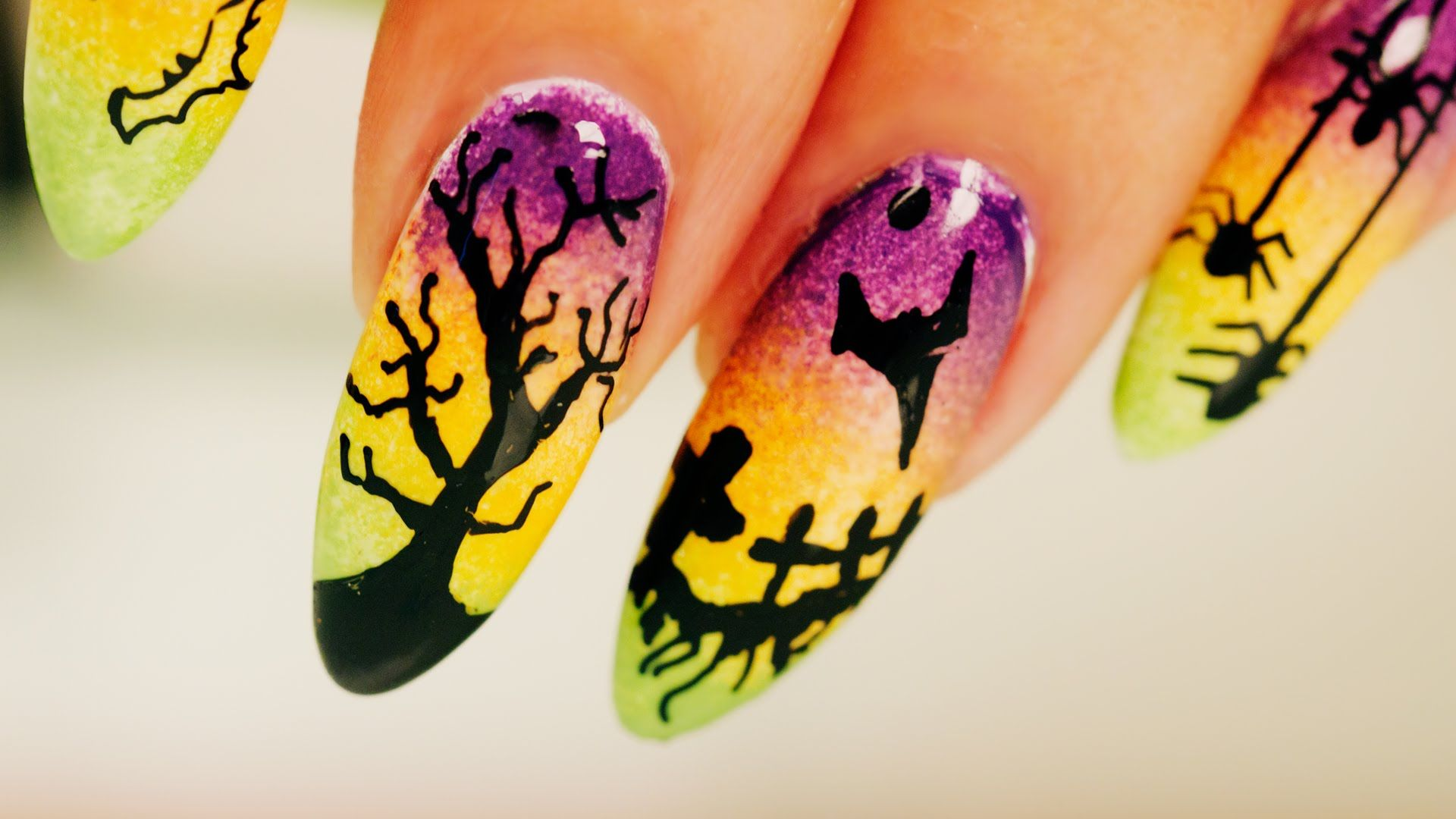 Ombre Halloween Nail Art - Step By Step Tutorial | Ombre, Halloween ...