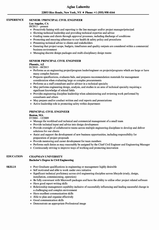 Civil Engineer Resume Examples Best Of Principal Civil