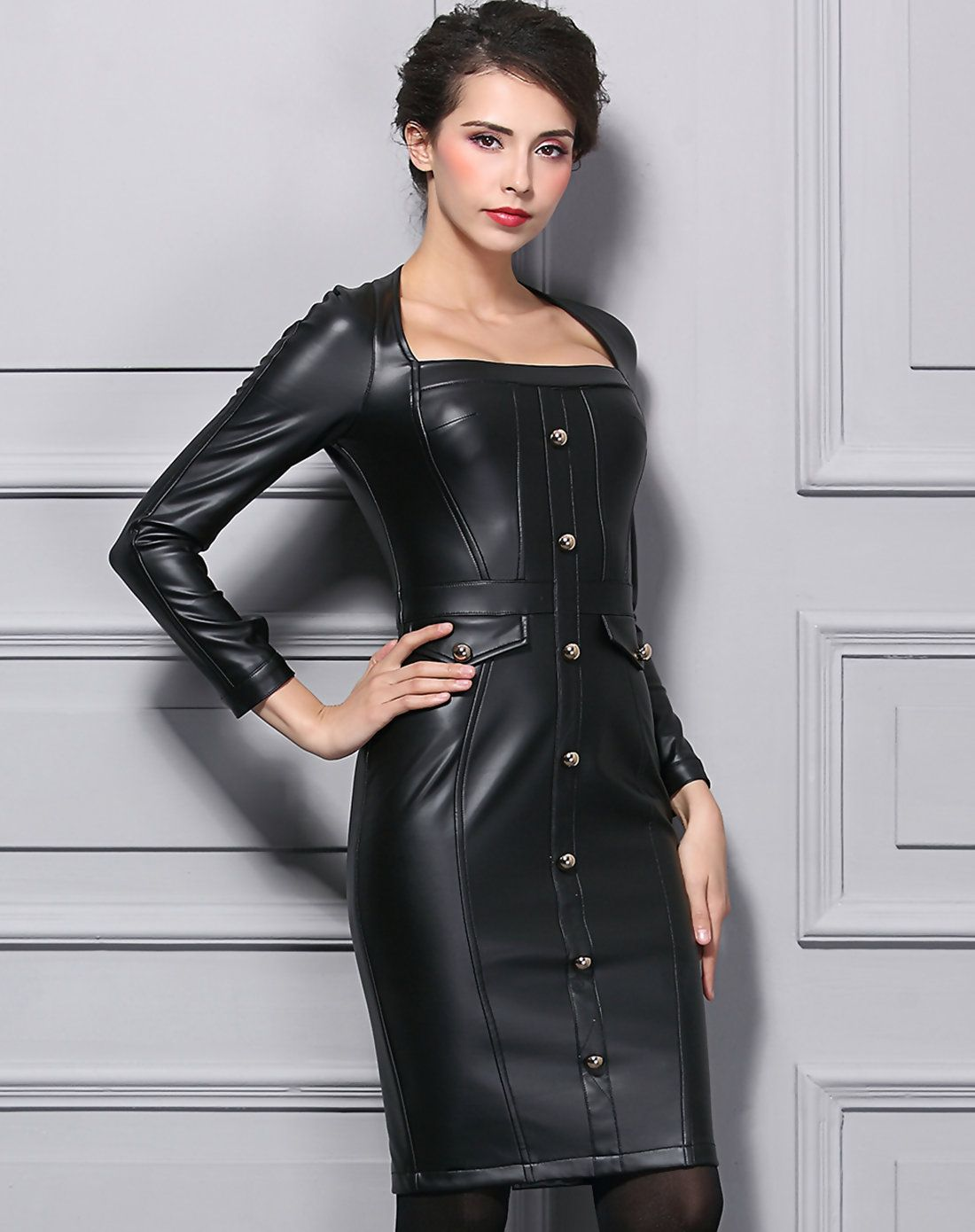Leather dress deri elbise pinterest front button sleeved