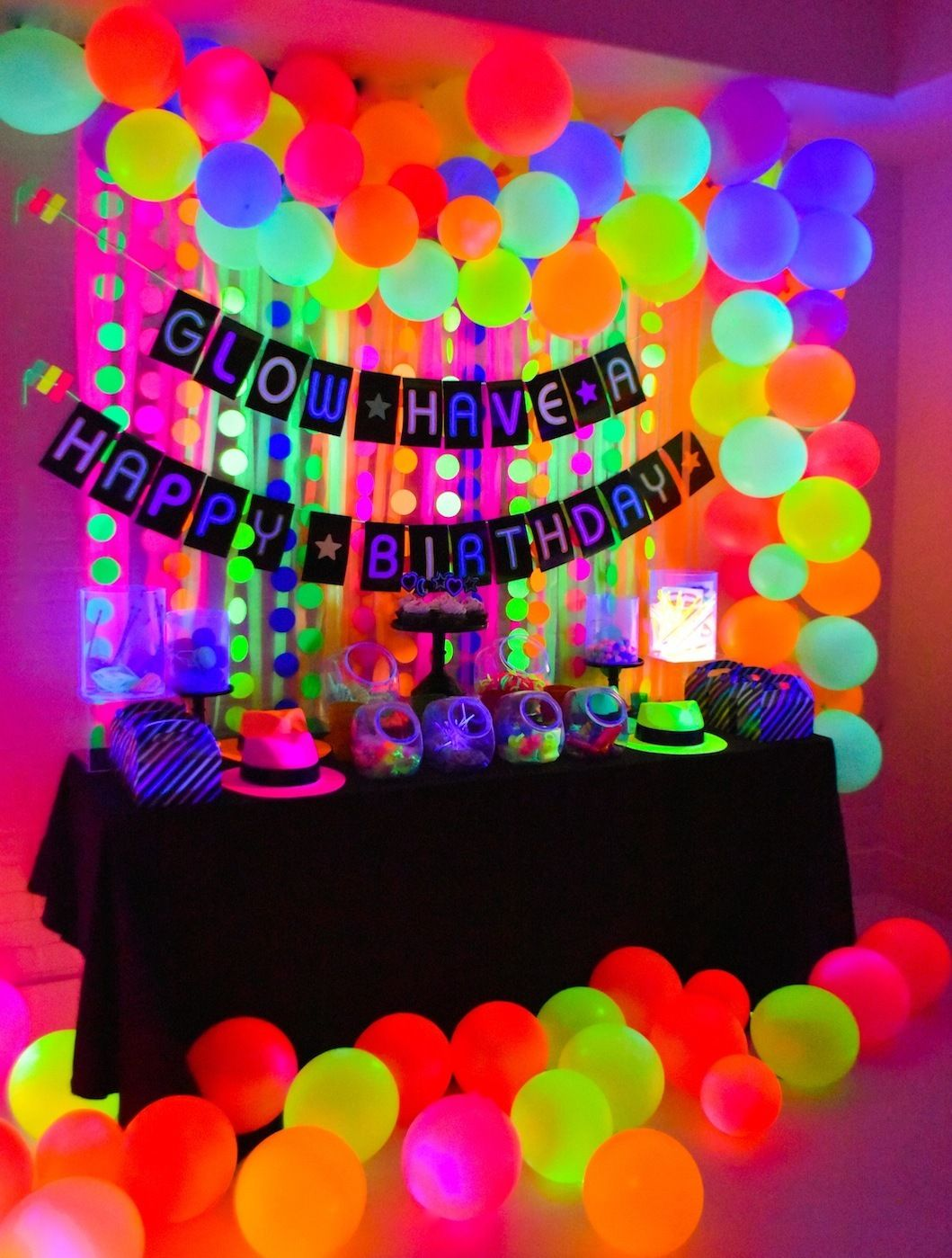 neon glow in the dark birthday party decor ideas idea in