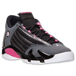 aca2fd73b7c Girls' Grade School Air Jordan Retro 14 Basketball Shoes | Finish Line |  Metallic Dark Grey/Hyper Pink/Black.. #size7kids
