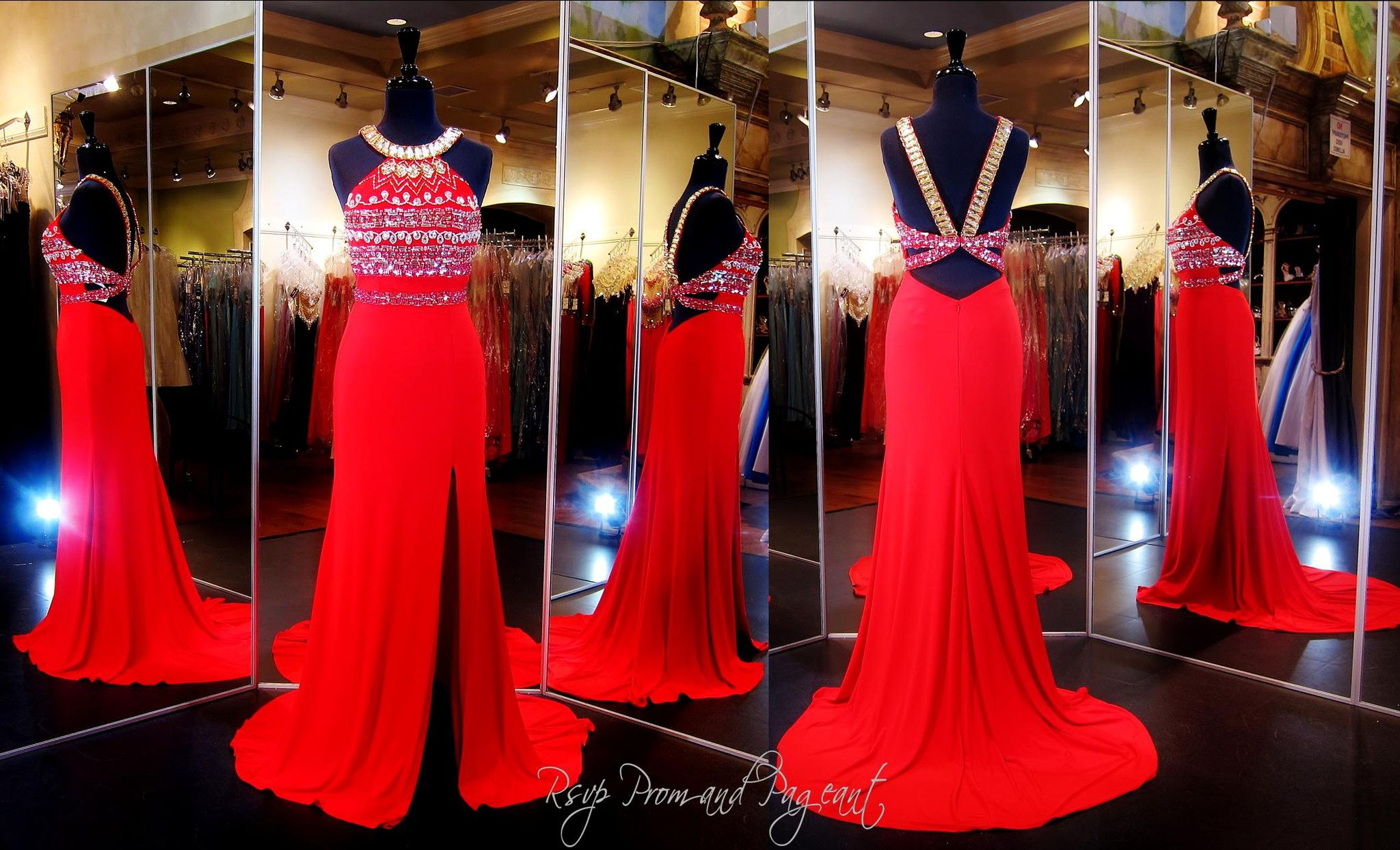 Red gold jersey prom dresshigh beaded necklineopen backhigh slit