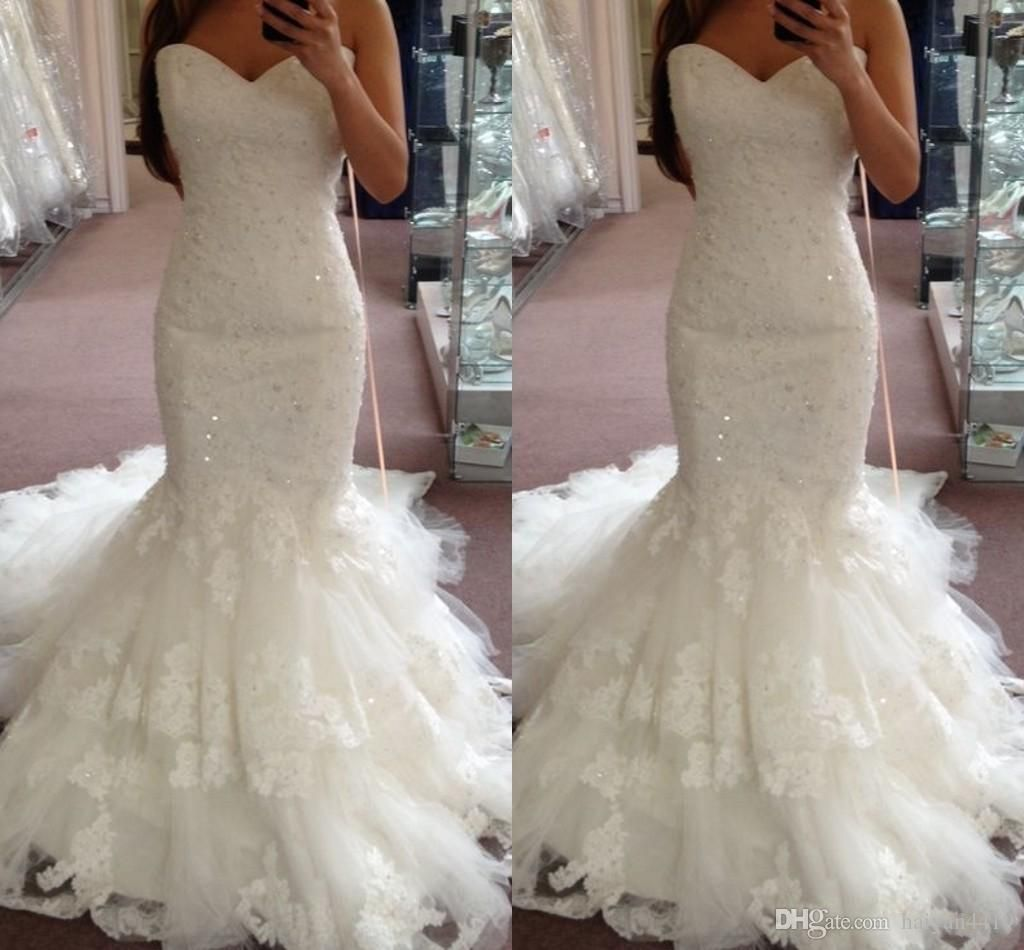 new cheap simple mermaid wedding dresses sweetheart lace