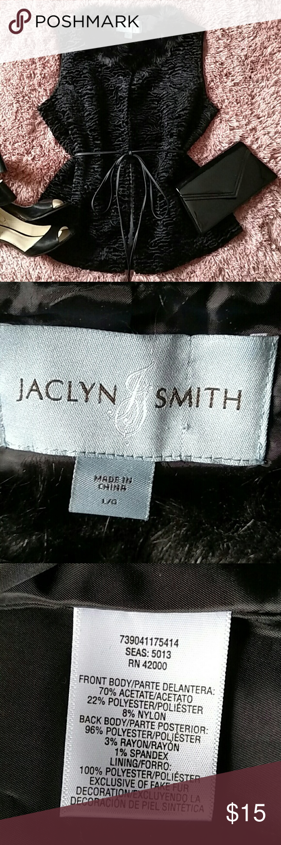Jaclyn Smith Faux Fur Fashion Vest