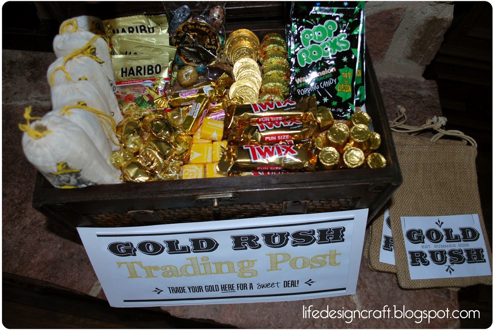 c38c1f3d537aaf Gold Rush Trading Post..The CUTEST idea for bday party or just an activity.  Spray paint rocks gold and hide them all over the yard.