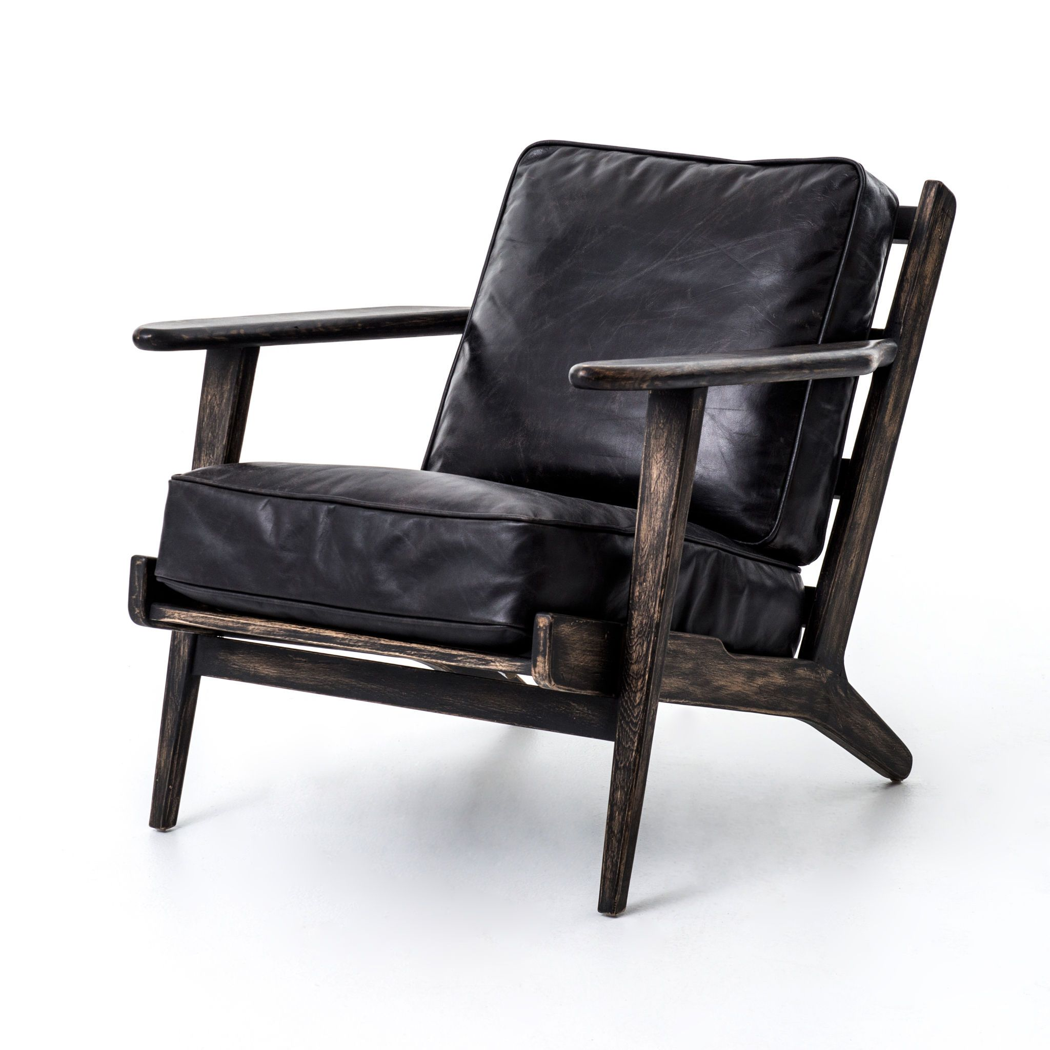 Silas Leather Mid Century Arm Chair Mecox Gardens Leather Lounge Chair Leather Lounge Black Leather Armchair