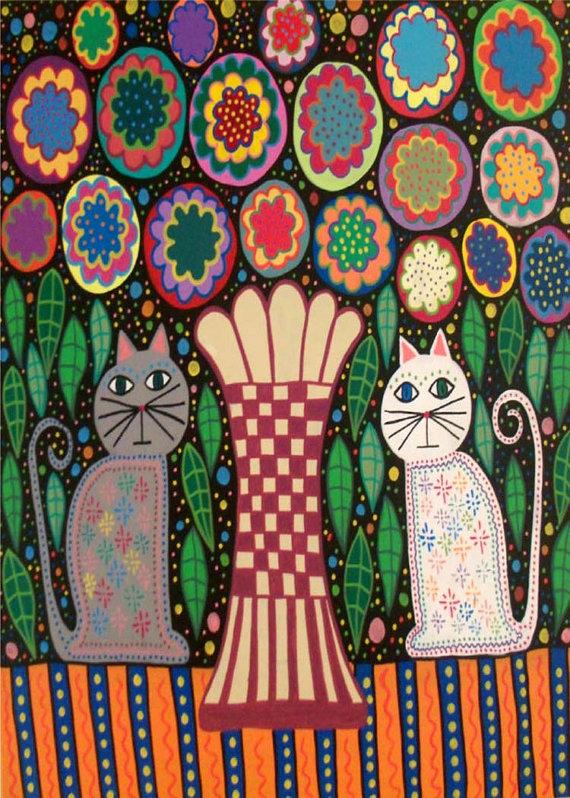 Kerri Ambrosino Art NEEDLEPOINT Mexican Folk Art  Vase Cats Fiesta Flowers on Etsy, $22.99