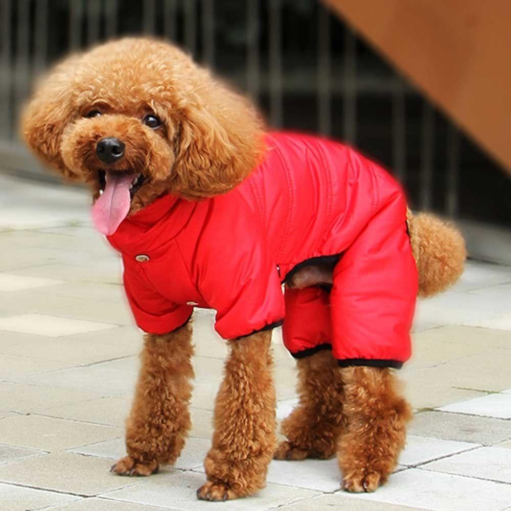 Roter Schneeanzug für Hunde - die extra warme Hundebekleidung - Sehr ...