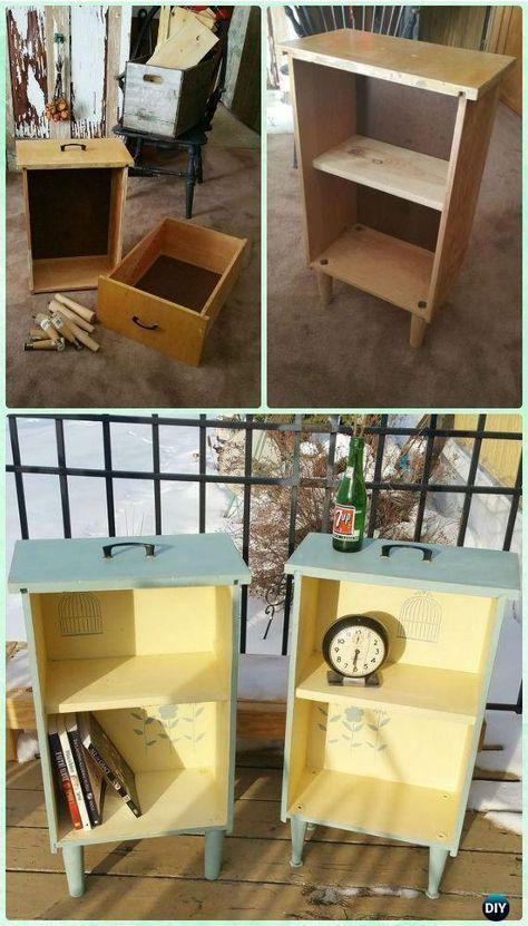 DIY Upcycled Drawer Beistelltische Anleitung – Praktische Möglichkeiten, um alte Draw … - UPCYCLING IDEEN #furnitureredos