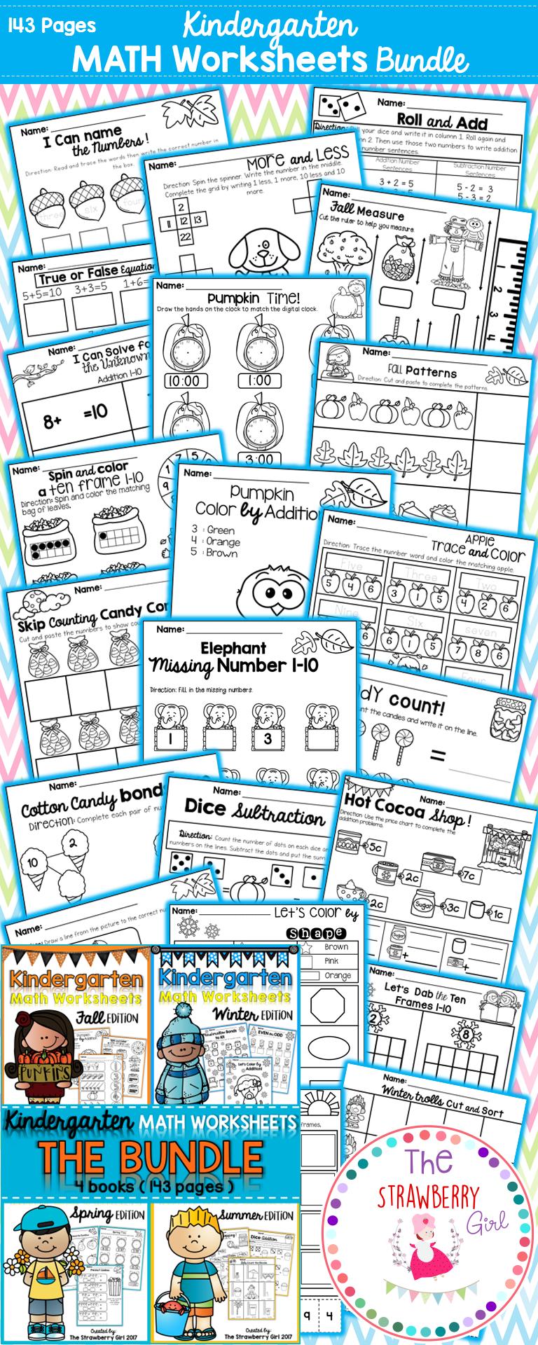 Kindergarten Math Worksheets - Bundle | Fun worksheets, Math ...