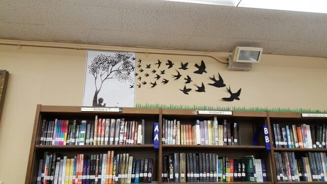 """My """"whispering reading wall"""" in our library"""