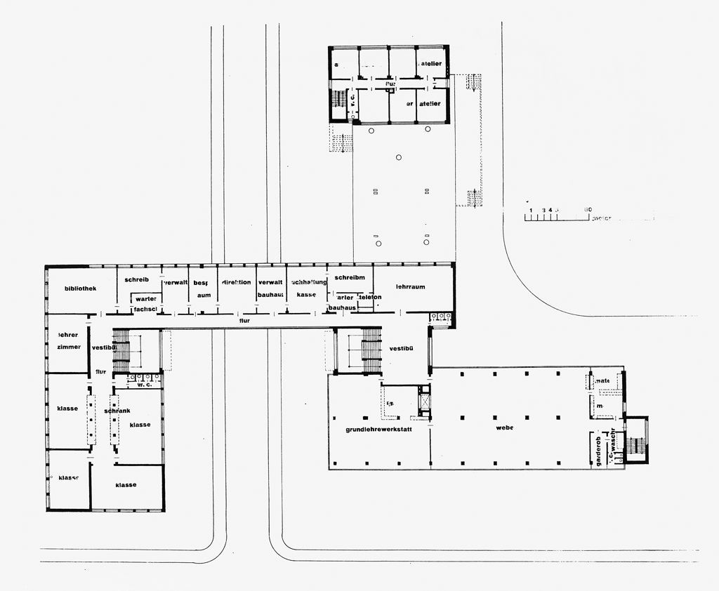 Bad Planen Bauhaus Bauhaus Building Dessau 1925 1926 First Floor Plan 1 200