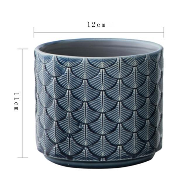 Photo of Nordic Ceramic Vase INS Green Flower Pot Desktop Gardern Plants Blue Embossed Home Decor Living Room Decoration вазы декор дома – seashells 12 cm
