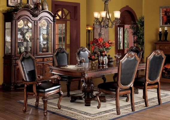 7 Pc Chateau De Ville Cherry Finish Wood Double Pedestal Dining Table Set  With Black Leather Like Vinyl Upholstered Chairs With Decorative Carved  Backs