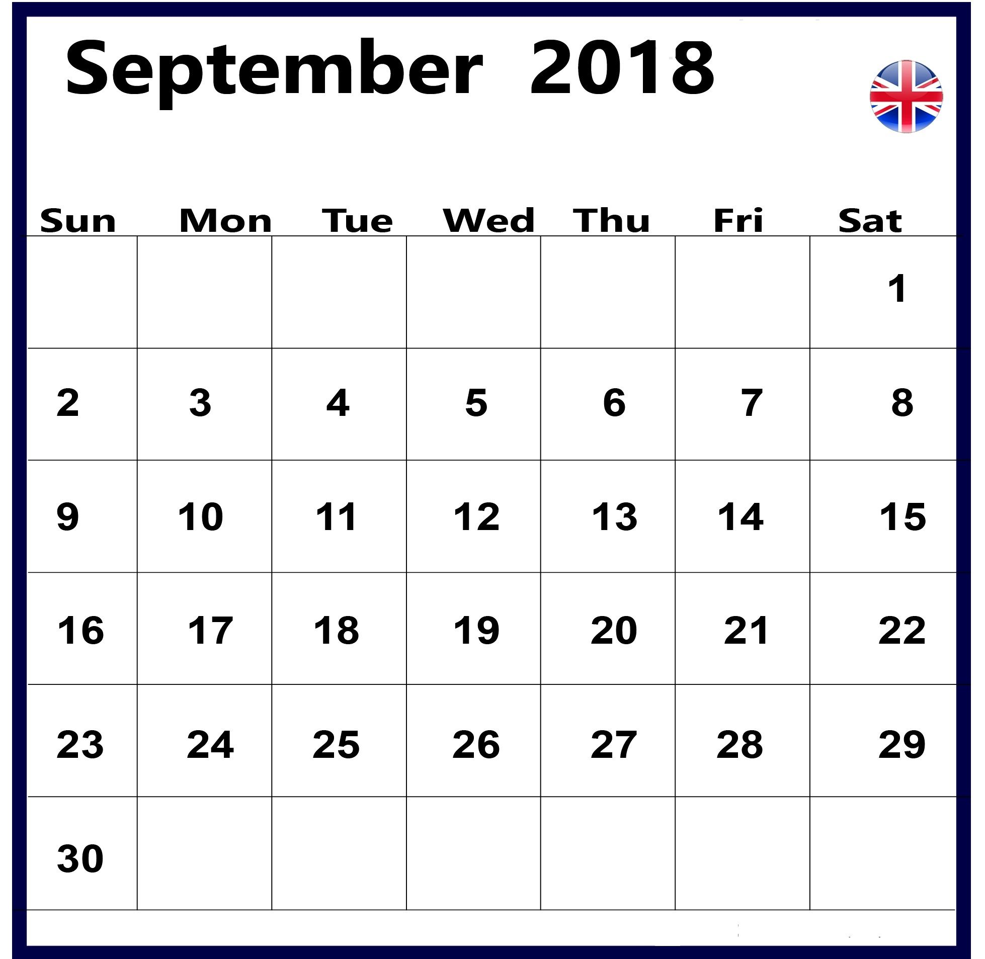 September 2018 Calendar Uk United Kingdom Holidays Calendar Uk
