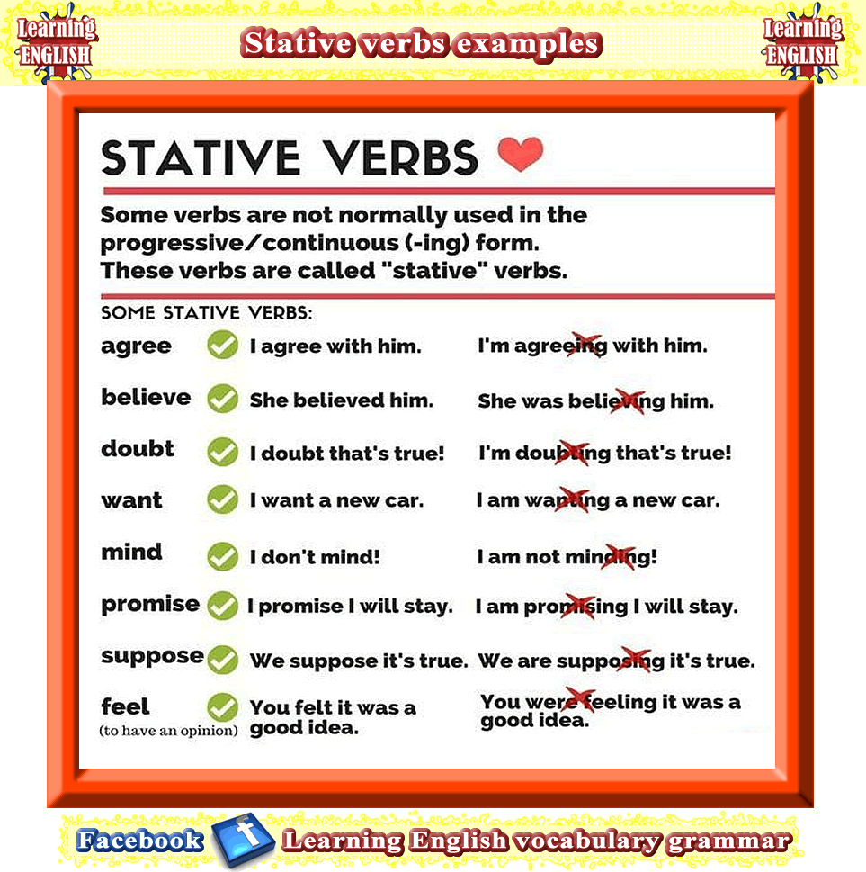 Stative Verbs Meanings And Examples In A Sentence Aprender Ingles Idioma Ingles Gramatica [ 969 x 963 Pixel ]