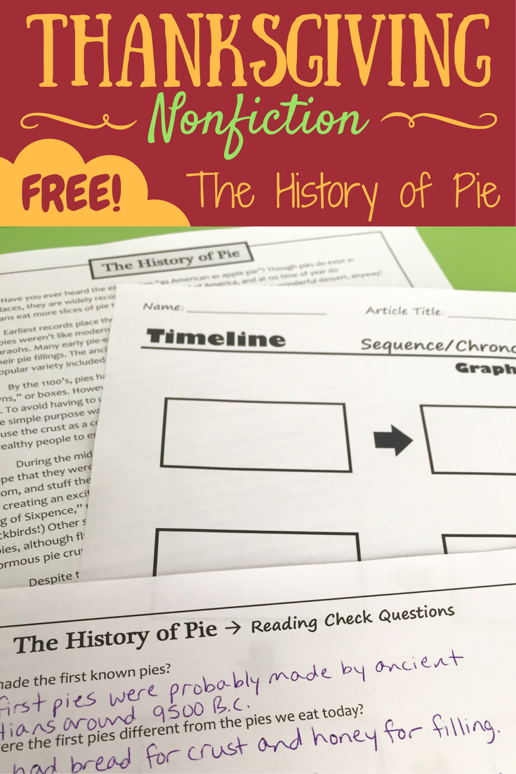 hight resolution of Thanksgiving Nonfiction - The History of Pie Here's a FREE high-interest  nonfic…   Middle school reading activities