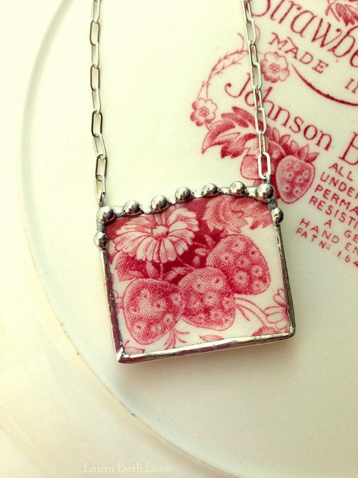 Johnson Bros Strawberry Fair broken china jewelry necklace made from broken china