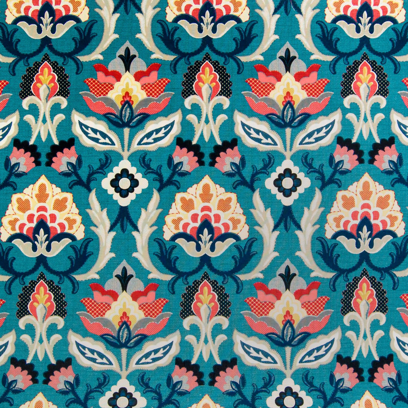 Blue Color Medallion And Fl Pattern Print Cotton Type Upholstery Fabric Called G7420 Adriatic By Kovi Fabrics