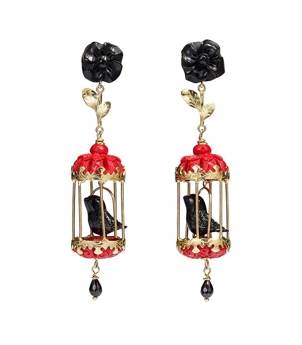 ShopBazaar Of Rare Origin Black Ruby Aviary Classic Earrings