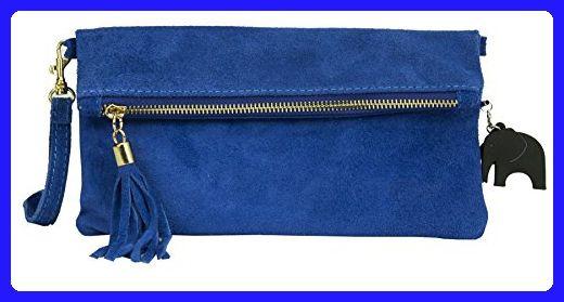 Big Handbag Shop Womens Real Italian Suede Leather Party Clutch Evening Wedding Bag (Royal Blue) - Evening bags (*Amazon Partner-Link)