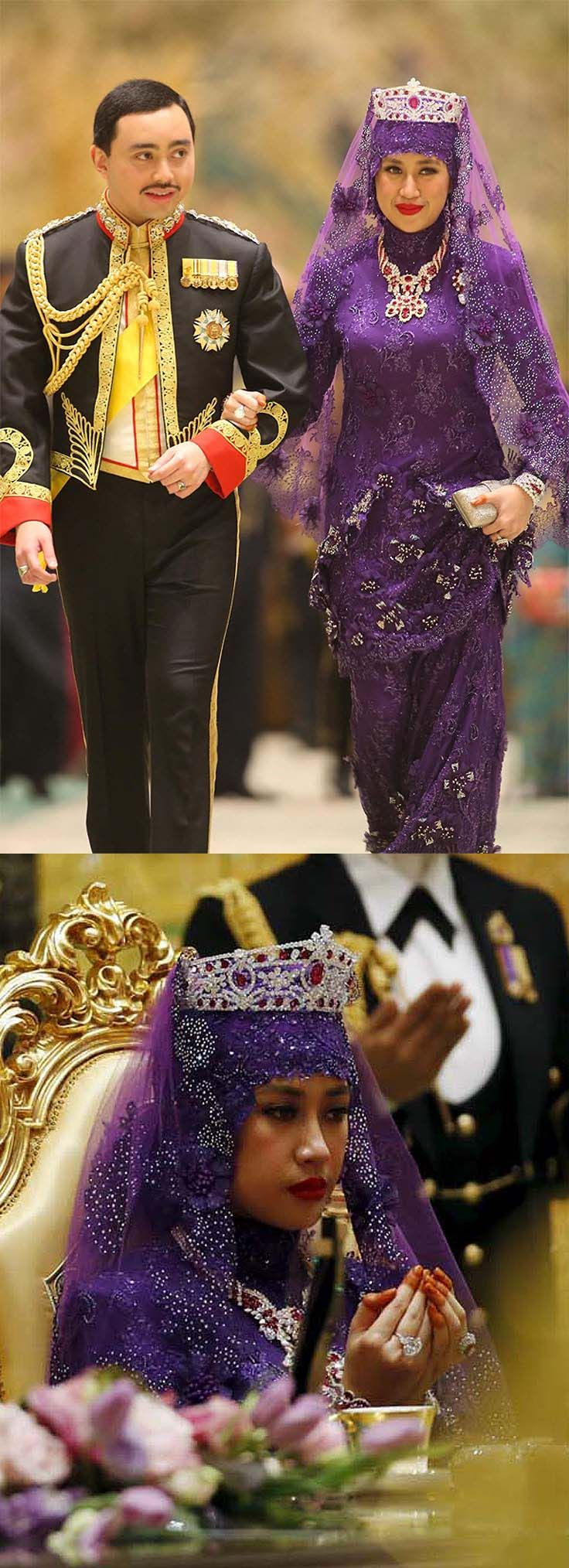 The newest member of the royal family changed into a beaded purple gown for the wedding banquet. She wore a bedazzled veil, along with a stunning diamond necklace set with tens of rubies, and a matching crown set with a scarlet gem the size of a 20-pence piece, a brooch, which was partly hidden by her veil, bracelets, a ruby and diamond ring and a huge diamond ring in a platinum setting.